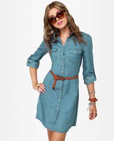 Cute Denim Dress - Shirt Dress - Chambray Dress from Lulu*s. Saved to Fall Fashion. Frock Design, Denim Fashion, Look Fashion, Fashion Outfits, Fall Fashion, Dress Fashion, Street Fashion, Fashion Trends, Denim Shirt Dress
