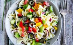 Simple, delicious and easy veggie-packed vegetarian pasta salad is colorful and perfect for upcoming summer days, grilling season Vegetarian Pasta Salad, Pasta Salad Recipes, Vegetarian Recipes, Healthy Family Meals, Healthy Snacks, Pasta Salad Ingredients, Best Vegetable Recipes, How To Cook Pasta, Easy Cooking