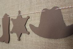 Pink Cowgirl Garland for sheriff Callie birthday party   // Cowboy Hat, Sheriff Badge, Cowboy Boot // Pick Your Colors on Etsy, $6.50