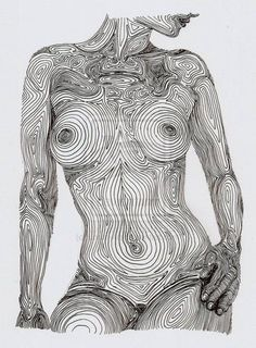 Nude Line Pencil Drawing Of A Woman