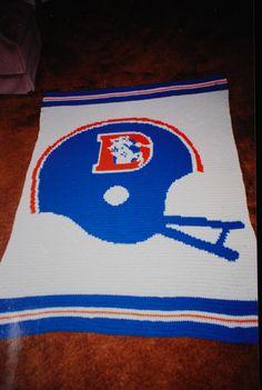 Hand crocheted Denver Broncos - twin size, Krafty L Kreations on facebook