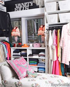 An extra bedroom turned into a closet and painted the walls with a super-glossy black oil paint, a nod to Chanel Room Closet, Closet Space, Ideas Para Organizar, Extra Bedroom, Dream Closets, Classy Closets, Open Closets, Armoire, Closet Organization
