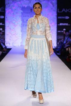 Light blue and white lehenga choli - Embroidered net brocade shirt with bralet and flared skirt. Indian Wedding Outfits, Indian Outfits, Indian Dresses, Lengha Choli, Anarkali, Brocade Dresses, Luxury Wedding Dress, Beautiful Saree, Flare Skirt