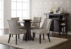 Aziz Round Dining Table | Ikon Collection Breeze Dining Chair