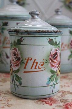 Vintage enamelware canisters