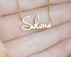 Sterling Silver Gold Name Necklace by MinimalistDesigns on Etsy