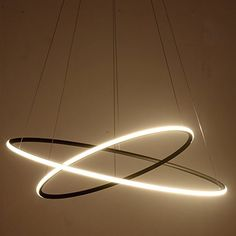 """Saint Mossi® Exclusive Design Modern Circular Led Chandelier Adjustable Hanging Light Tania Double Collection Contemporary Ceiling Pendant Light H47"""" X D24"""""""