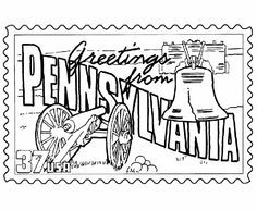 USA-Printables: Pennsylvania State Stamp - US States Coloring Pages