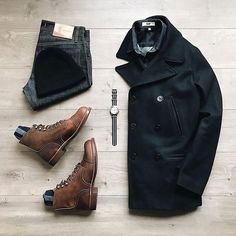 Men Clothing with a great fall combo with a black pea coat jacket wolverine boots selvedge denim black beanie soso custom shirt timex watch Fashion Wear, Mens Fashion, Fashion Menswear, Fashion 2020, Style Fashion, Fashion Trends, Black Pea Coats, Casual Outfits, Men Casual
