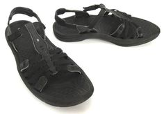 Kalso Earth 10 Puerta Black Microfiber Leather Strappy Velcro T-Strap Sandals #Earth #TStrap #Casual