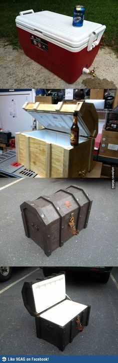 To Make A Treasure Chest Cooler I will never do this, but. How To Make A Treasure Chest Cooler! How To Make A Treasure Chest Cooler! Deco Pirate, Pirate Theme, Pirate Decor, Pirate Birthday, Pirate Games, Diy Projects To Try, Craft Projects, Cool Wood Projects, Pirate Treasure Chest