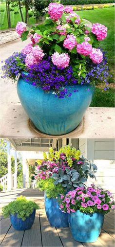 Gardening With Containers - 24 stunning container garden designs with PLANT LIST for each! Lots of designer tips on selecting the best mix of flower plants and creating a beautiful colorful garden which blooms all season with these planting recipes! Diy Garden, Garden Planters, Shade Garden, Potted Plants Patio, Plant Pots, Pots For Plants, Blue Plants, Garden Bar, Beer Garden