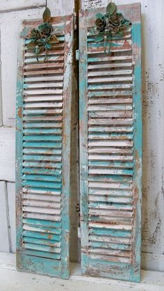 Wooden shutters with toleware rose hooks very by AnitaSperoDesign, $170.00