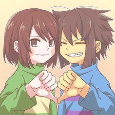 Undertale - Frisk and Chara Frisk Fanart, Anime Undertale, Undertale Drawings, Undertale Memes, Undertale Cute, Undertale Ships, Chara, Little Misfortune, Toby Fox