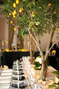 A lemony kick and black and white patterned tablescape make crystal sparkle and a Clover Canyon dress feel right at home.  http://vintagetearoses.com/wp-content/uploads/2013/04/Lemon-Zest-Wedding-Inspiration-Lemon-Tree-Table-Setting.jpg
