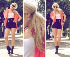 1. High waisted black shorts  2. Pink/Coral Button down silk shirt  3. White tank top & Black Wedges/Boots