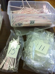 Counting straws - put corresponding number of straws in each baggie
