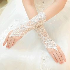 Ivory bridal gloves lace gloves Wedding gloves by laceNbling, $30.00