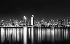 Melbourne sky line black and white
