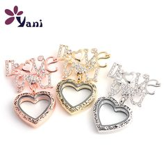 10PCS!! Newest Vintage Heart Floating Locket Brooch Glass Living Memory Crystal Locket Brooches Pins for Women