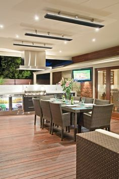 Bring extra warmth to your outdoor living space with Rinnai outdoor heaters. Outdoor Kitchen Design, Patio Design, Home Design, Design Ideas, Alfresco Designs, Outdoor Heaters, Outdoor Heating Ideas, Patio Heater, Outdoor Living Rooms