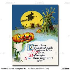 Jack O Lantern Pumpkin Witch Full Moon Haystack Postcard