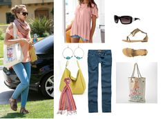 "Jessica Alba    Drapey Swing Tee – $22.50 at Victoriasecret.com  Quilted Rectangular Sunglasses – $5.99 at Charlotterusse.com  Peacemaker Sandals – $32.50 at Alloy.com  Hang Ten ""Be Who You Are"" Tote – $11.20 at Kohls.com  Celebrity Pink Womens Skinny Jeans – $14.97 at Tillys.com  3 Compartment Hobo Bag – $40 at Yesstyle.com  Striped Scarf – $4.99 at Charlotterusse.com  Turquoise Hoops Earrings – $4 at Charlotterusse.com"