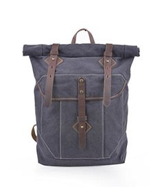 Gootium 60408 Vintage Unisex Canvas Backpack Rucksack Casual DaypackGrey -- More info could be found at the image url.