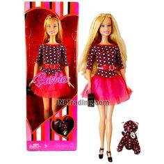 Year 2007 Barbie XO Valentine Series 12 Inch Doll - BARBIE in Pink Heart-Pattern Dress with Purse, Pet Plush and Hairbrush New Barbie Dolls, Barbie Skipper, Pattern Dress, Dress Patterns, Doll Clothes Patterns, Clothing Patterns, Hairbrush, Barbie Collection, Heart Patterns