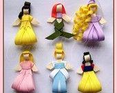 Princess hair bows on alligator clips
