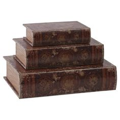 Set of 3 book boxes with faux leather upholstery featuring a world map motif.   Product: Small, medium and large book box