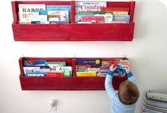 rouge étagère murale en palettes de bois