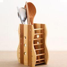 Kitchen Natural Bamboo Spoon Chopsticks holder Fork Cutlery Storage Organizer | eBay