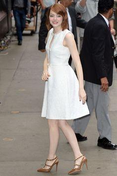 Emma Stone wearing Giambattista Valli Resort 2015 and @valentino pumps – Good Morning America #2014
