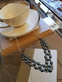 pearl necklace, Swarovski jewelry, Swarovski necklace, pearl jewellery, pearl jewelry, Swarovski jewellery, Tahitian pearl necklace by JewelsInspire on Etsy