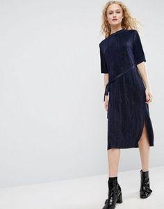 ASOS Midi Dress in Plisse with Self Tie Belt
