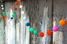 Birthday Garland / 30 Felt Balls 6 ft long by TheFickleFeltTree, $20.00