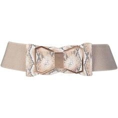 Ivory Snake Print Wide Cinch Belt With Bow (16 CAD) ❤ liked on Polyvore featuring accessories, belts, corset, ivory, elastic belt, stretchy belts, snake belt, waist cincher belt and bow belt
