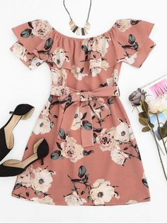 Ruffle Off Shoulder Short Sleeves Floral Mini Dress Girl Women Casual Belted Dress Vestidos De Festa Robe Female Red Ruffle Dress, Red Floral Dress, Pink Mini Dresses, Belted Dress, Cute Dresses, Casual Dresses, Short Dresses, Floral Dresses, Dress Red