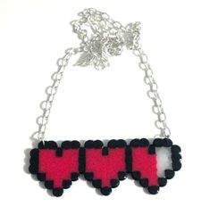 Buy Heart Meter Necklace by iamadecoy on Etsy at Wish - Shopping Made Fun Hama Beads, Fuse Beads, Valentine Crafts, Valentine Day Gifts, Valentines Jewelry, Chevron Necklace, Crochet Necklace, Pretty Designs, 8 Bit