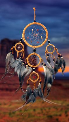 Item owg010 – 5 Ring Natural Leather Dream catcher