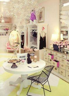 faire frou frou lingerie boutique girly feminine interior design bubble chandelier - love the dresser with pink accent Chandelier Bulle, Bubble Chandelier, Diy Chandelier, Chandelier Design, Decoration Inspiration, Room Inspiration, Design Inspiration, Decor Ideas, Dressing Room Closet