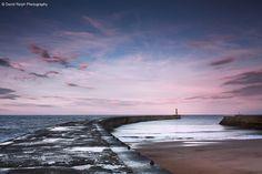 Seaham Harbour Sunset - Explored by David Relph, via Flickr | #landscape #seascape #water #rocks #pink #blue