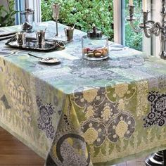 Rialto Lovat Green - Beauville Tablecloths - Tablecloths and Matching Napkins - Le Jacquard Francais,Garnier Thiebaut,Beauville