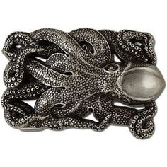 Handmade Antique Silver Octopus Belt Buckle