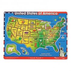 http://www.educationaltoysplanet.com/usa-map-sound-puzzle.html USA Map Wooden Sound Puzzle. Match the American states with the right spots on the map and learn more geography with this USA Map Sound Puzzle by Melissa & Doug!