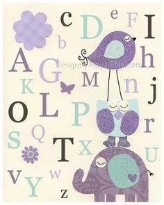 Baby girl nursery, Kids Room art, Nursery wall Art print, Brooklyn and carters elephant, lavender and turquoise, ABC, Alphabet, AQUA, purple