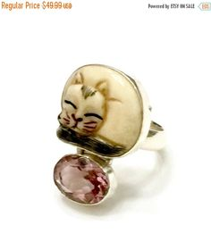 Sterling Silver Bone & Rose Quartz Ring, Craved Bone, Sleeping Cat, Faceted Rose Quartz, Vintage Jewelry, Artisan Hand Crafted, 925 Sterling #teamlove #vjse2 #vogueteam #fashion #collectible #signed #vintagejewelry #follow4updates