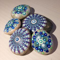 Set of two Dot Art Mandala Painted Stone Fairy by CreateAndCherish