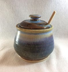 Stoneware pottery honey pot/ sugar bowl, copper brown and light blue glaze (holds 8 oz)- includes honey dipper by CenteredVessel on Etsy